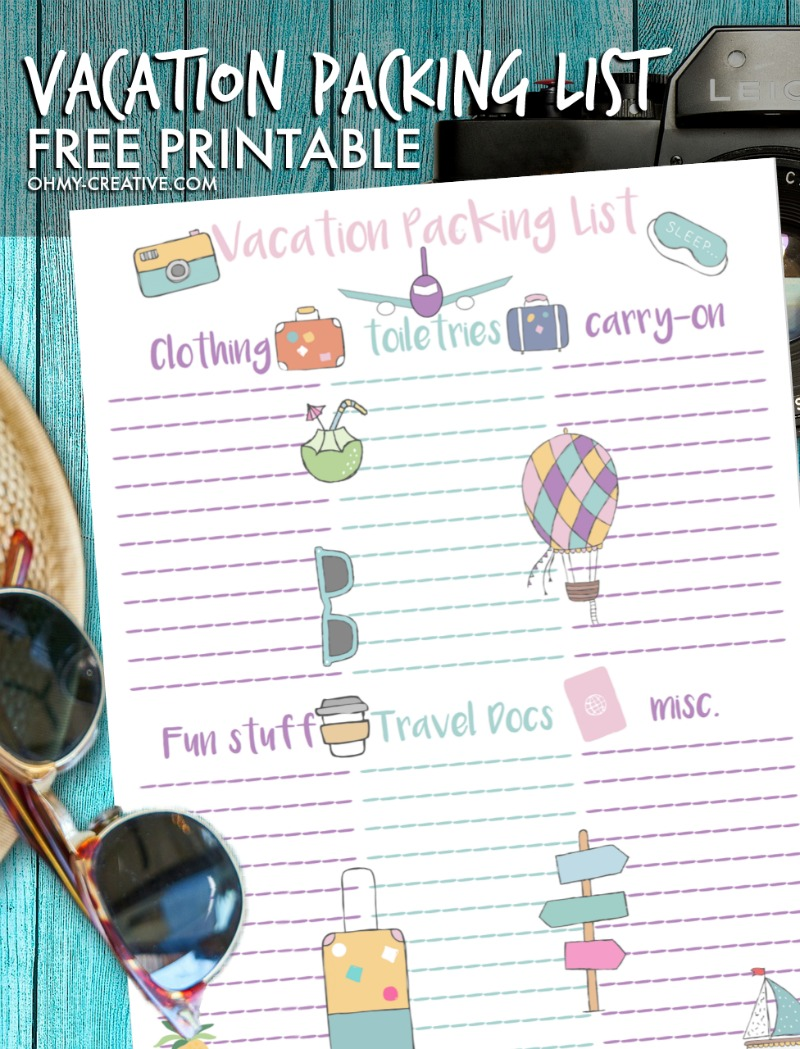 Personalized Vacation Packing List Free Printable
