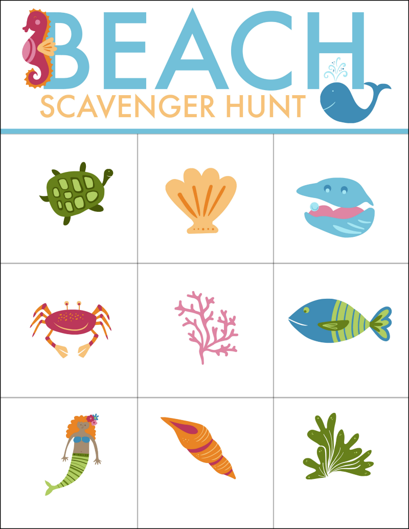 This Beach Scavenger Hunt Free Printable is great a great way to have the kids explore sea life on the beach. OHMY-CREATIVE.COM | Beach Games | Scavenger Hunt | Free Printable | Kids Beach Activities | Beach Scavenger Hunt List | Beach Scavenger Hunt Ideas #scavengerhunt #scavengerhuntprintable #freeprintable #beach