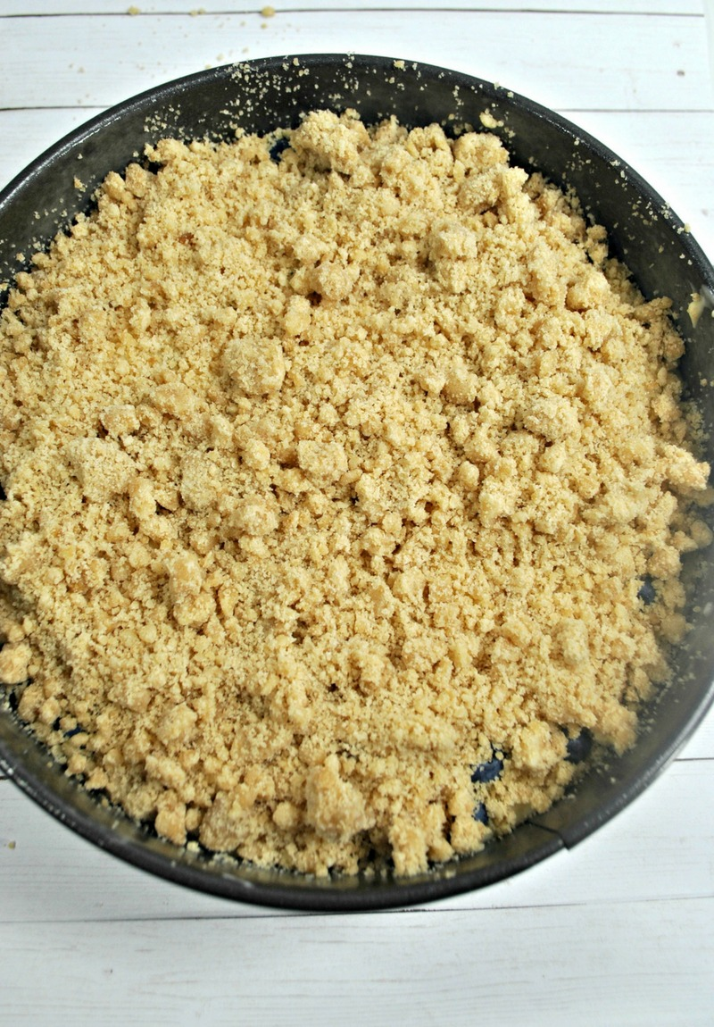 Crumb topping on lemon blueberry cake recipe