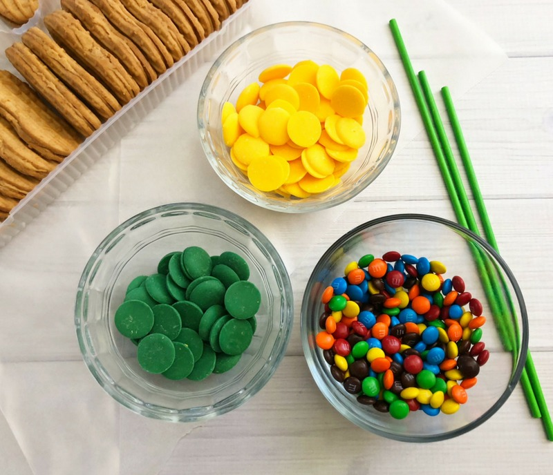 Supplies for Harvest Indian Corn Cookie semi-homemade harvest party desserts. OHMY-CREATIVE.COM | Fall Cookies | Indian Corn | Fall Desserts | Cookie Pops | Nutter Butter Cookies | #indiancorn #indiancorncookies #falldessets #fallcookies #harvestcookies