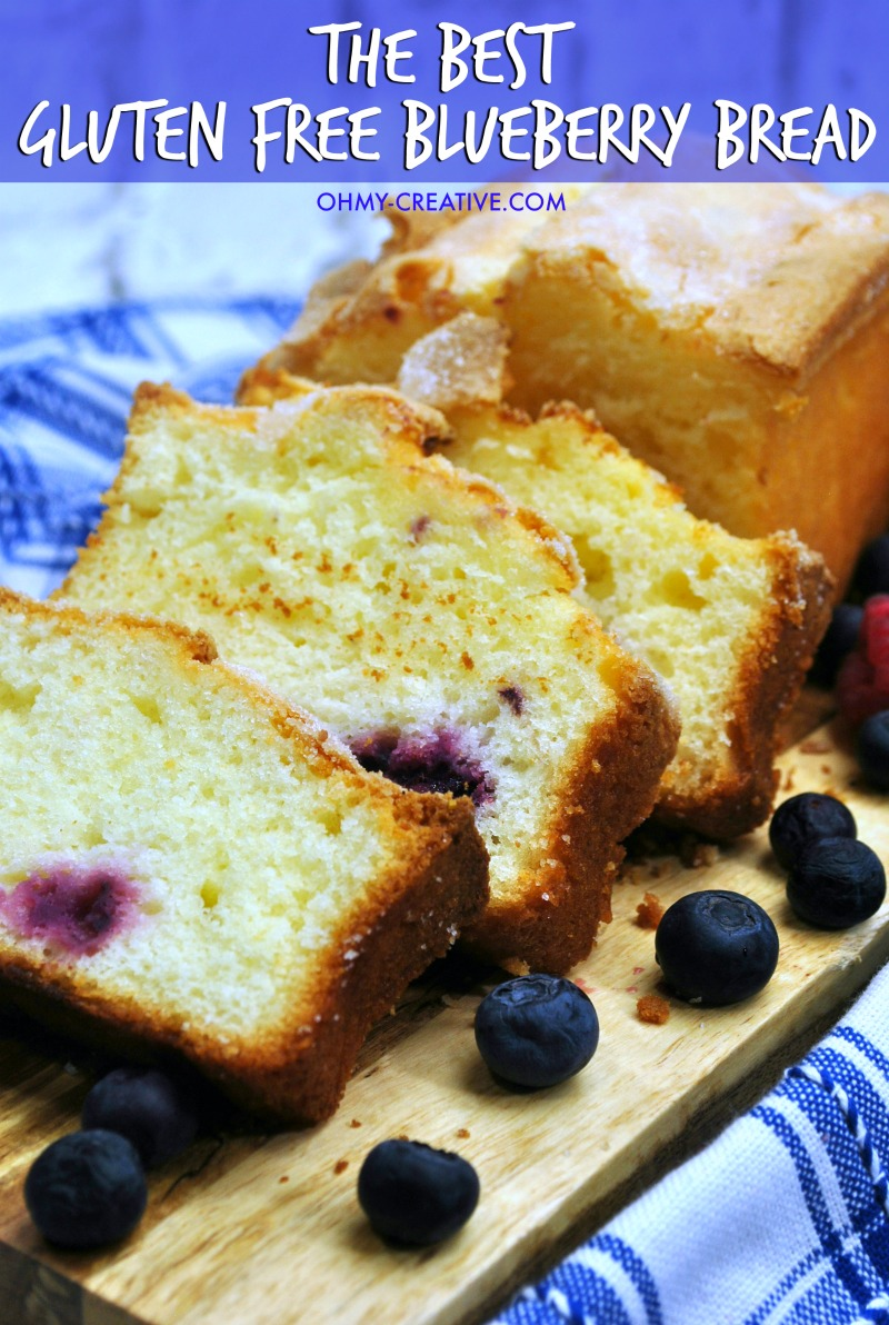 Simply the best Gluten Free Blueberry Bread with raspberries! Great flavors with delicious berries. OHMY-CREATIVE.COM | Gluten Free Bread | Gluten Free Loaf | Gluten Free Recipe | Gluten Free | #glutenfreeblueberrybread #glutenfreebread #glutenfreerecip #glutenfreebreakfast #glutenfreeflour