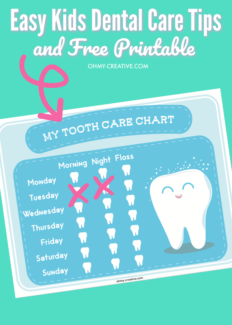 Easy Kids Dental Care Tips and Free Printable