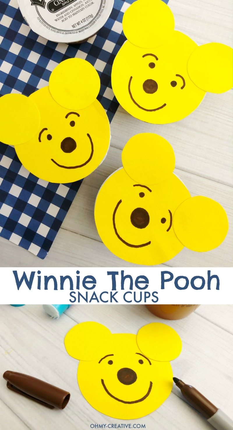 With a few supplies, these adorable Winnie The Pooh Food Snack Cups are easy to make. A sure hit with the kids for party food or party favors - healthy too! OHMY-CREATIVE.COM | Winnie the Pooh party favors | Winnie the Pooh party ideas |Winnie the Pooh party decorations | Winnie the Pooh baby shower | Winnie the Pooh 1st birthday | Snack Cups | applesauce cups #winniethepoohparty #winniethepooh #winniethepoohbabyshower #winniethepoohbirthdayparty #kidsparty
