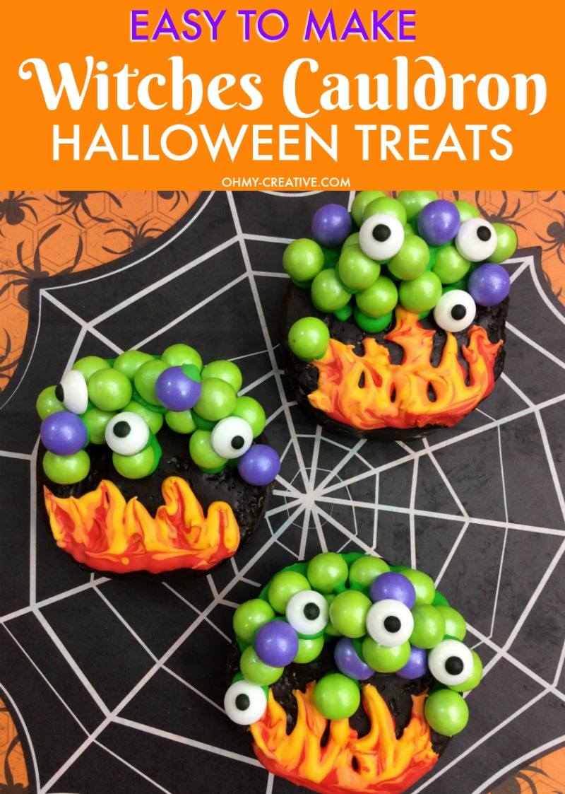These Witches Cauldron Halloween Treats are easy to make when you use colored chocolate candies and pre made chocolate cakes! A perfect Halloween party treat! OHMY-CREATIVE.COM | #halloween #halloweentreats #halloweendessert #halloweencake #witchescauldron
