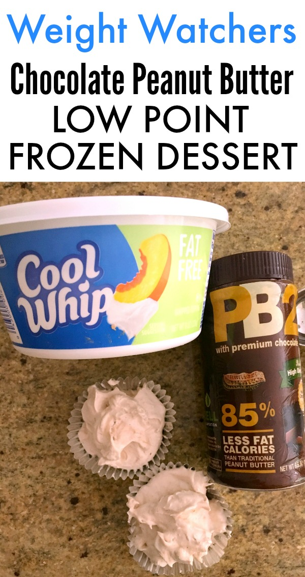 This Weight Watchers Chocolate PB2 Cool Whip Low Point Dessert is a delicious frozen SmartPoint treat. Easy to make and an easy Weight Watchers Cool Whip recipe!