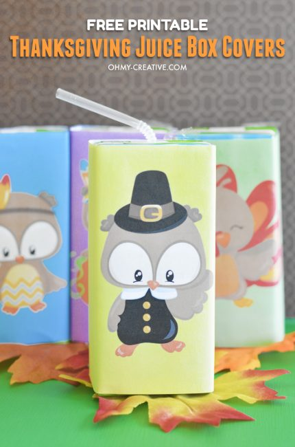 Decorate the kid's table at Thanksgiving with these Free Printable Thanksgiving Juice Box Covers - the kids will love them! OHMY-CREATIVE.COM   #thanksgiving #thanksgivingkidstable #thanksgivingprintables #juiceboxcovers