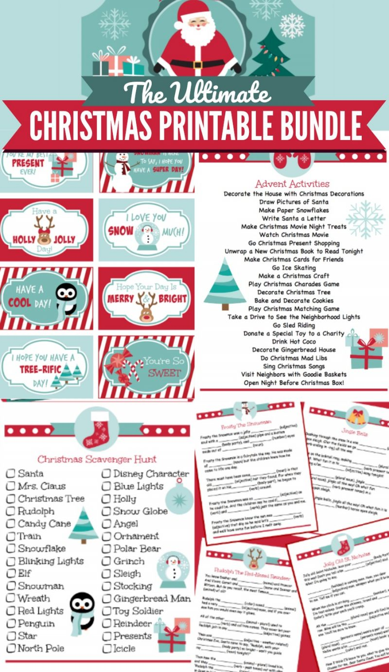 """Christmas Printable Bundle for kis - a family tradition for Christmas and Christmas Eve. Includes 18 Christmas Themed activity sheets, lunch box notes, games, Santa letter, """"Nice List"""" certificate and an adorable printable label for the Christmas Eve box! Use them throughout December to get the kids excited about Christmas. Fun for all ages! 
