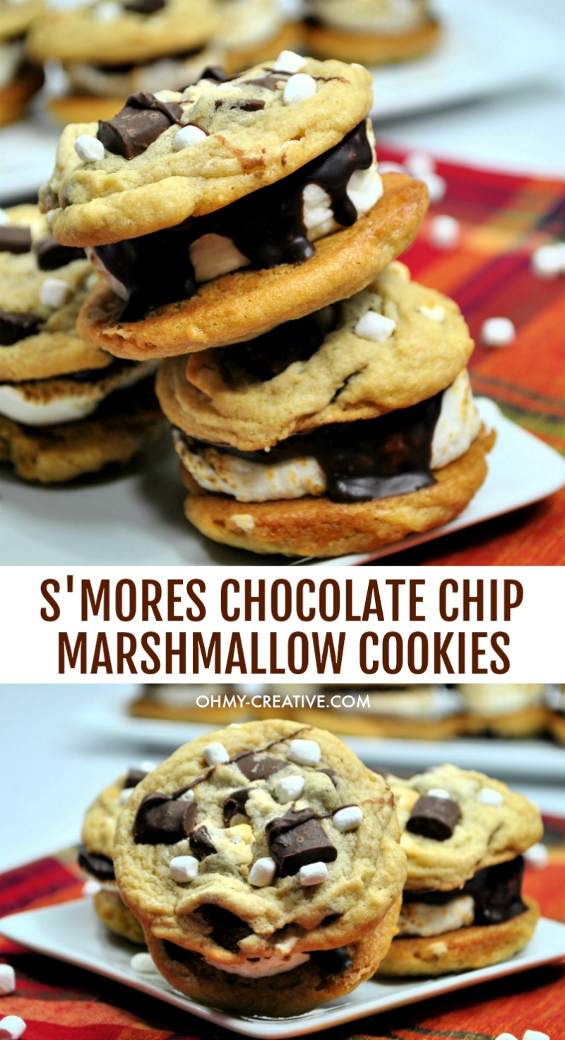 These delicious Chocolate Chip Marshmallow Cookies S'mores Sandwich are a crowd pleaser. A chewy chocolate chip marshmallow cookie with a toasted marshmallow center!