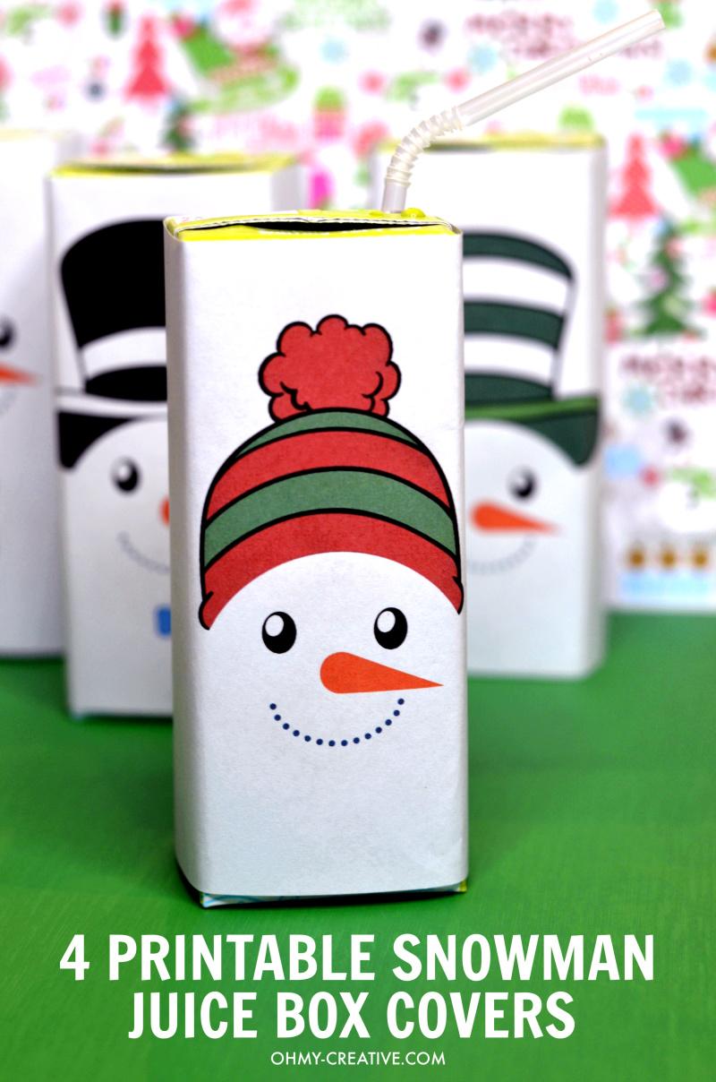 Free Printable Snowman Juice Box Covers