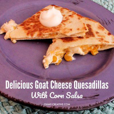 Chicken Goat Cheese Quesadilla Recipe with Corn Salsa on a purple plate