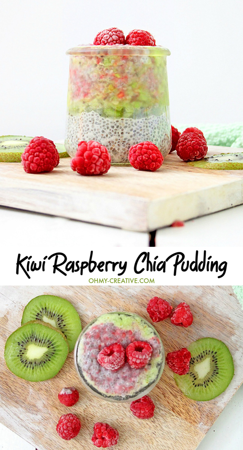 This Kiwi Raspberry Chia Pudding healthy, full of antioxidants, and so good you'll want to make them ahead and keep them on hand for a quick snack. Great for breakfast too! OHMY-CREATIVE.COM #raspberrychiapudding #kiwirasberrychiapudding #chiapudding #chiapuddingrecipe #overnightchiapuddng #breakfastrecipe