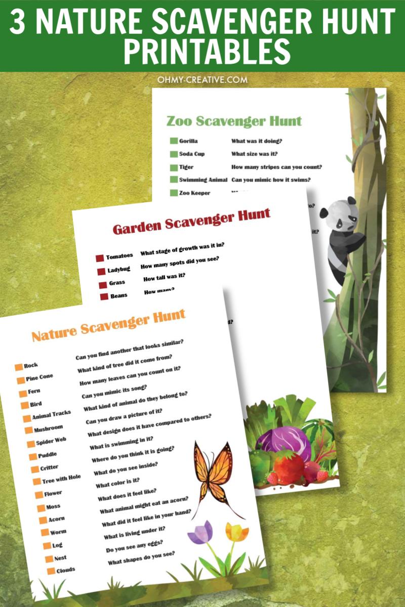 Fun Nature Scavenger Hunt Printables For Kids