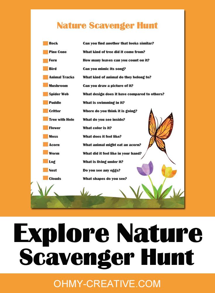 nature scavenger hunt printable pdf