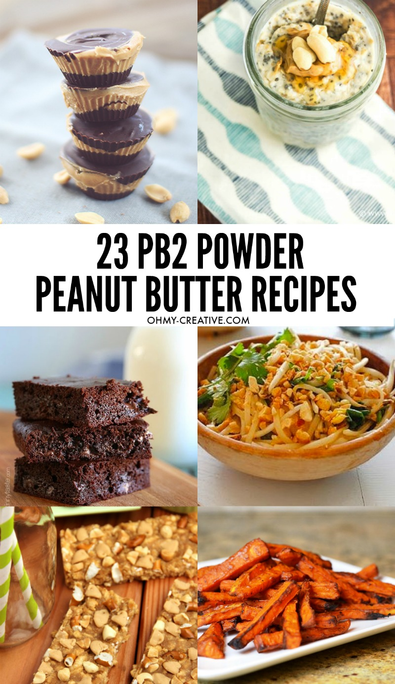 Collage of powdered peanut butter recipes for breakfast, lunch and dinner plus desserts