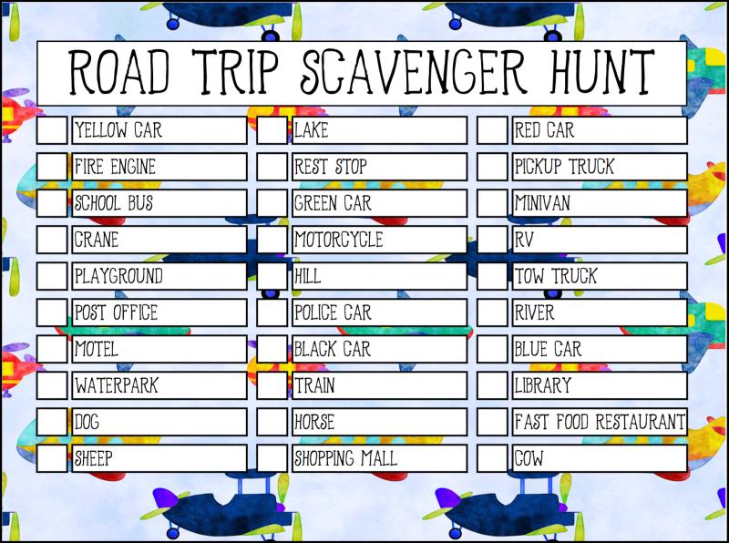 kids road trip scavenger hunt printable checklist
