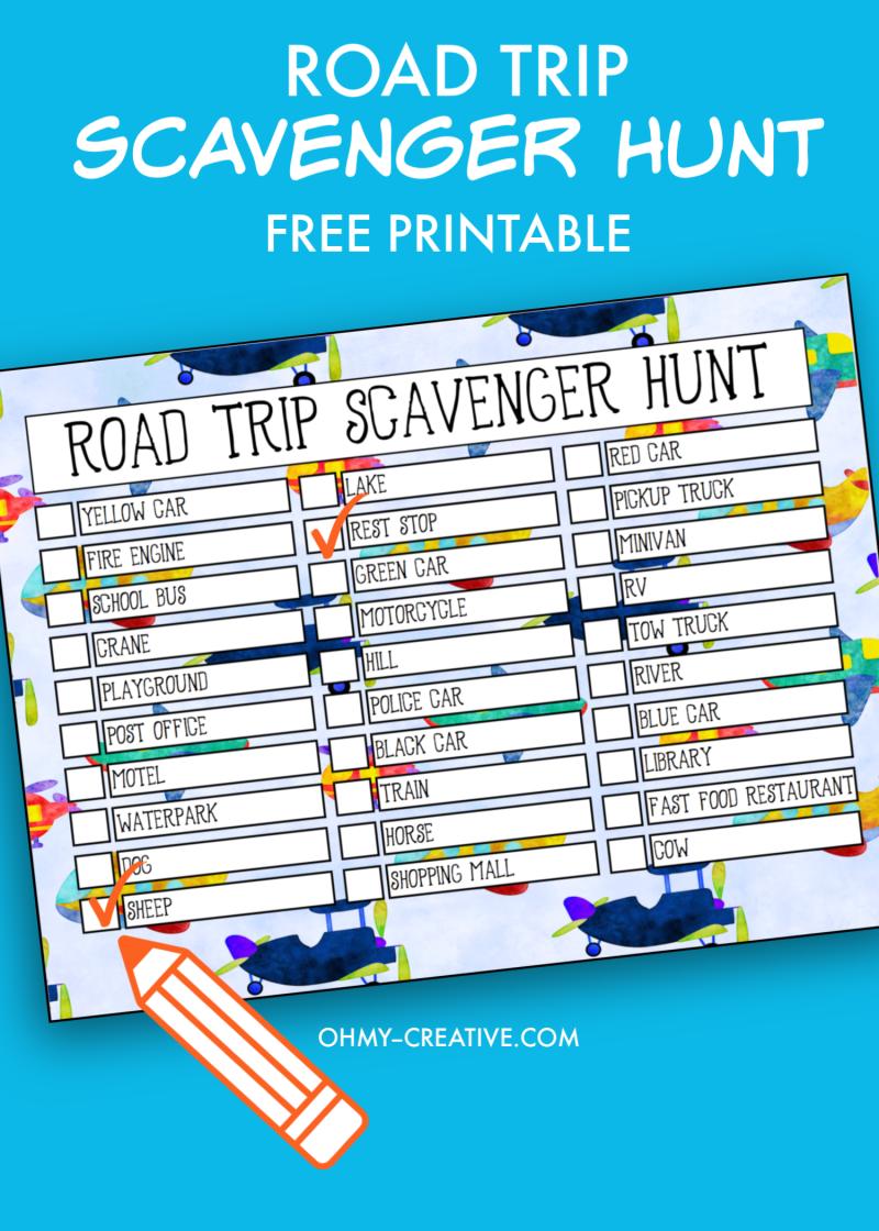 Free Road Trip Printable Scavenger Hunt