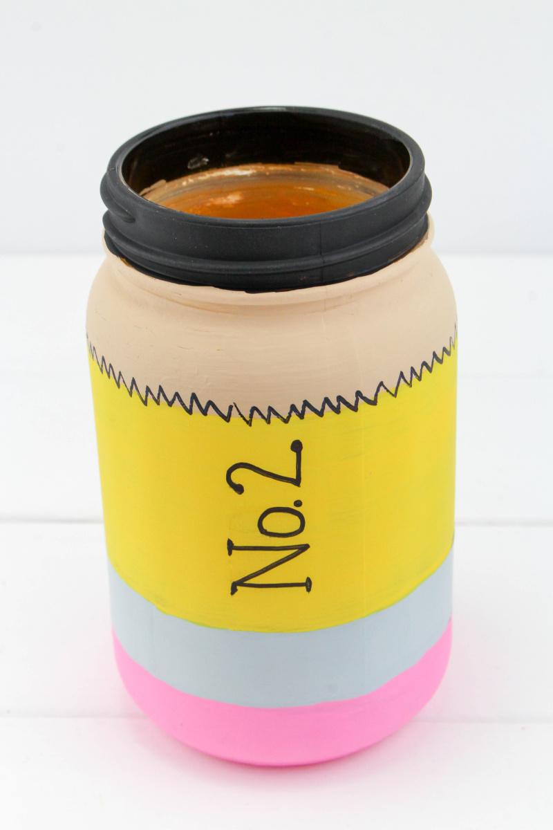 Finished pencil mason jar craft pencil holder