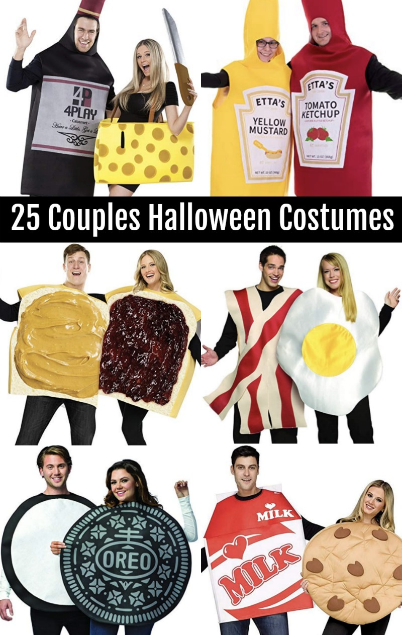 Food couples Halloween costumes. Wine and cheese, ketchup and mustard, peanut butter and jelly, bacon and eggs, oreo, cookies and milk