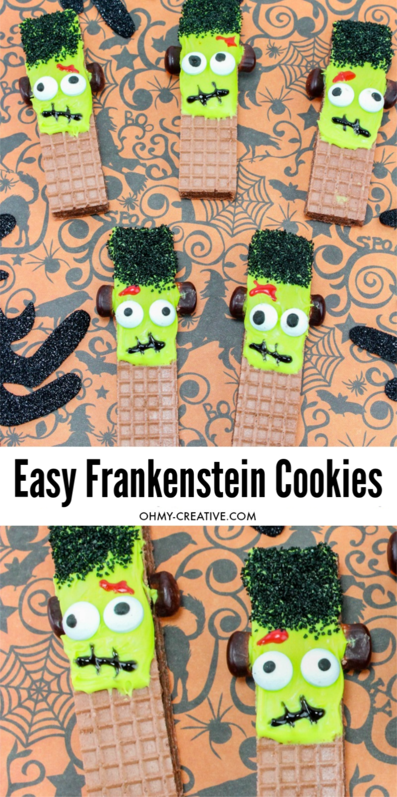 creative Halloween cookies? These Frankenstein cookies are the perfect no-bake recipe, made from store-bought wafers