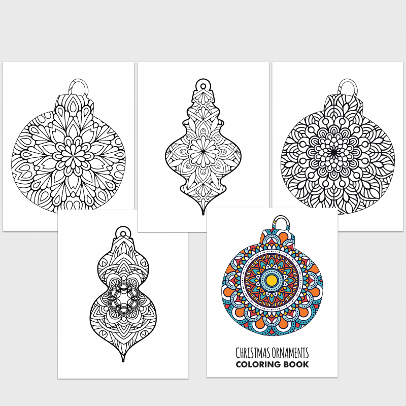 A collage of Christmas ornament coloring pages for adults and teens.