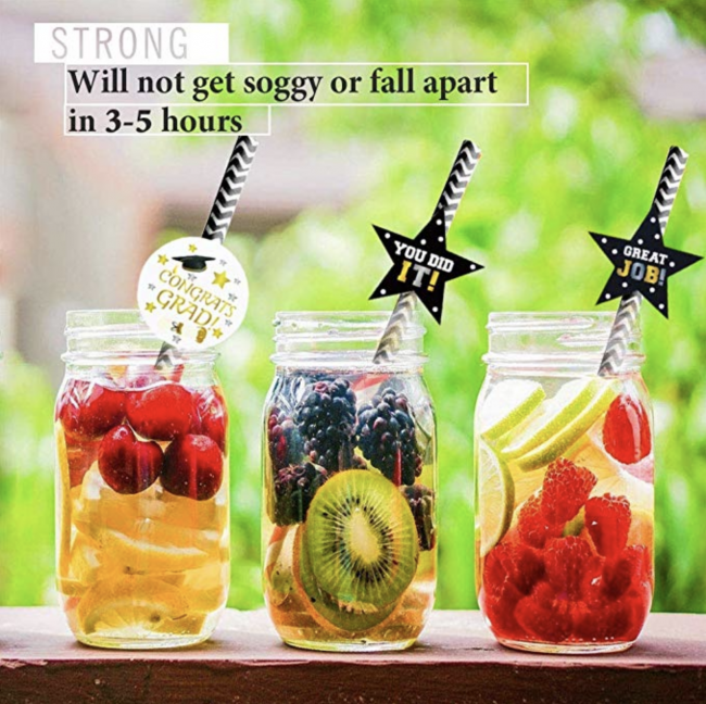 Graduation party drink straws make a festive display on any drink station! A fun way to celebrate the graduate!