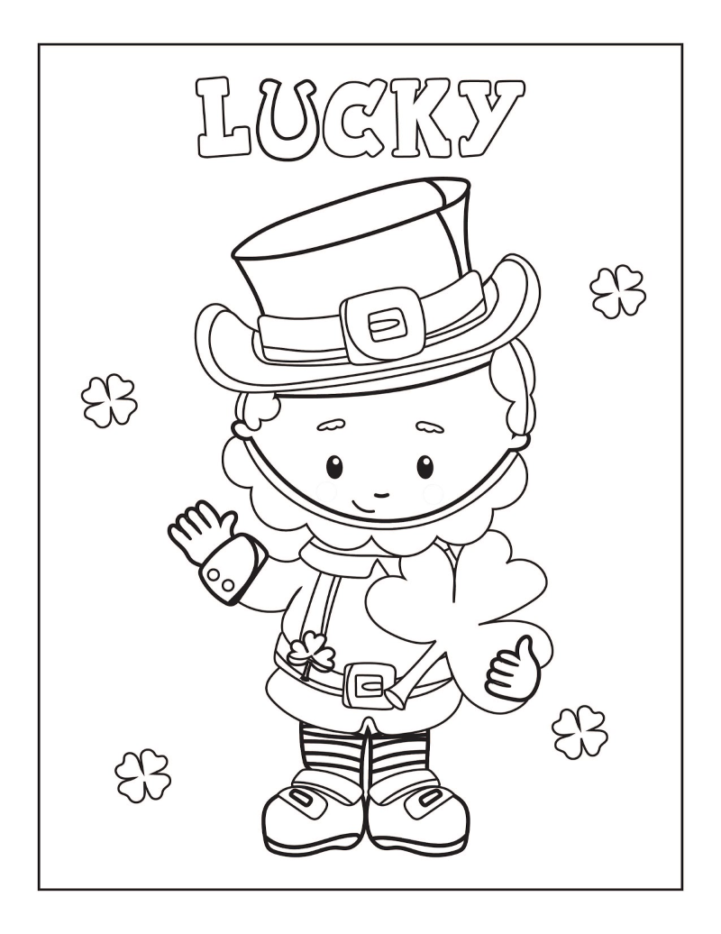 St. Patrick's Day leprechaun holding a shamrock and the word LUCKY coloring page