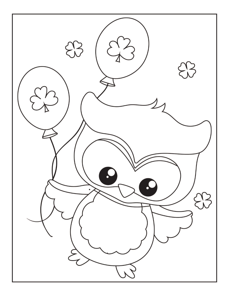 St. Patrick's Day owl holding shamrock balloons coloring page