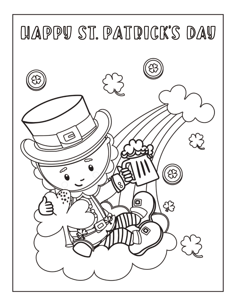 St. Patrick's Day leprechaun sitting on a cloud with a rainbow coloring page