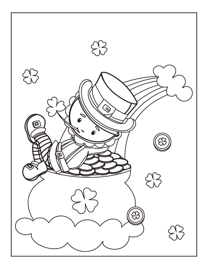 St. Patrick's Day leprechaun sitting on a pot of gold with a rainbow in the background coloring page