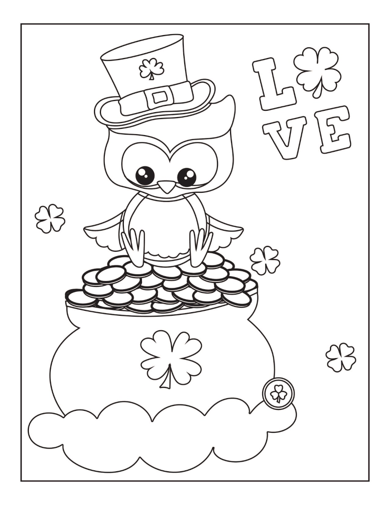 St. Patrick's Day owl with a leprechaun hat on sitting on a pot of gold coloring page