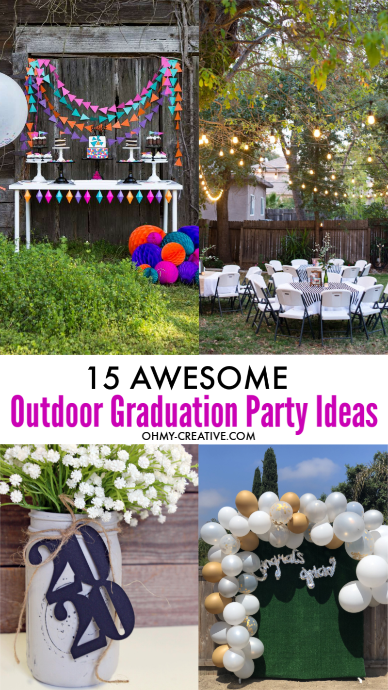 Awesome outside grad party ideas include outdoor games, grad party decor, photo booth and centerpieces are shown in these outside party ideas!