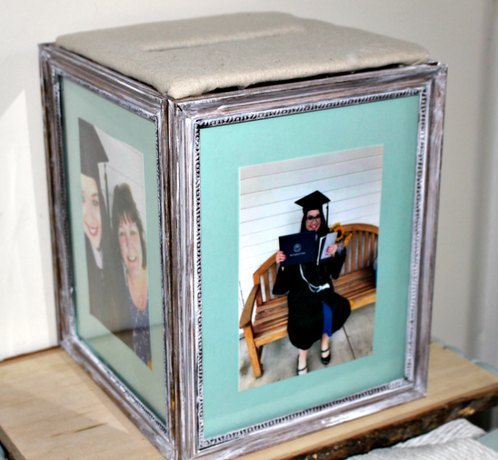 Easy DIY Graduation Photo Frame Card Box made from picture frames with a card slot on top.