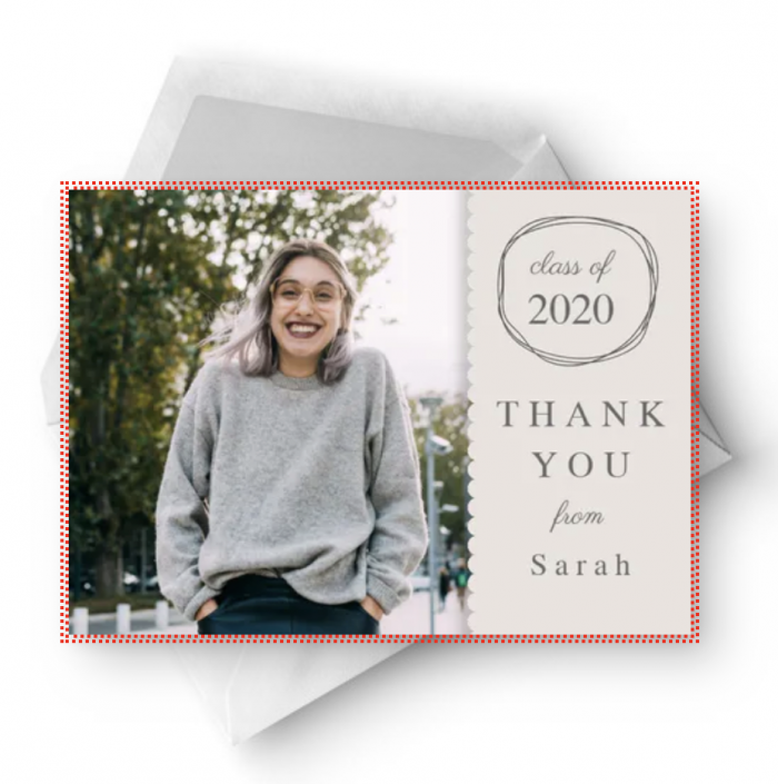 Thank you cards are really important. This free graduation thank you card lets you add your own photo of the graduate. To the right of the photo is a place for the class year and graduate's name. All text can be customized.