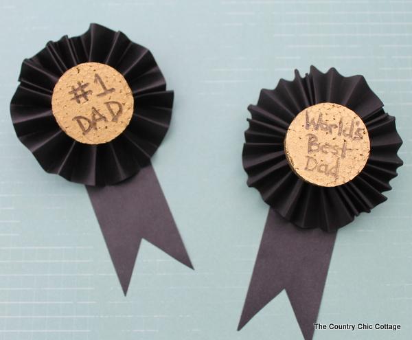 Black ribbon awards made with corkboard and black ribbon
