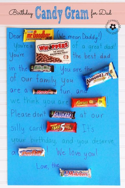 Letter with written words and candies in the place of select words
