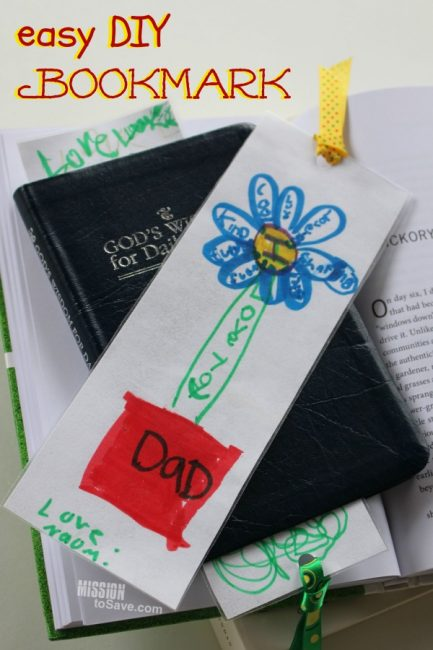 Handmade white bookmark with childs drawing