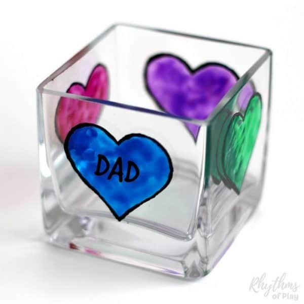 Glass cube personalized for Father's Day