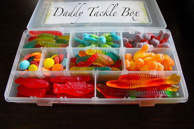 Tackle box filled with snacks