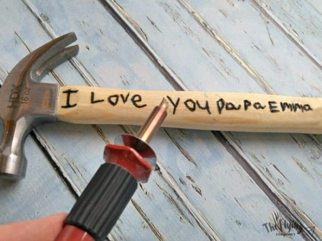 Hammer with engraved I Love You on the handle