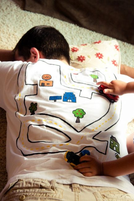 Hand painted race track on white shirt