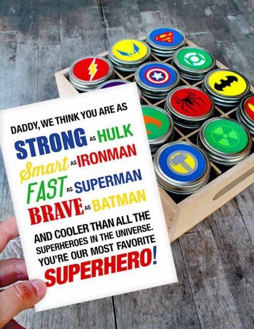 Handmade treat jars featuring super heroes