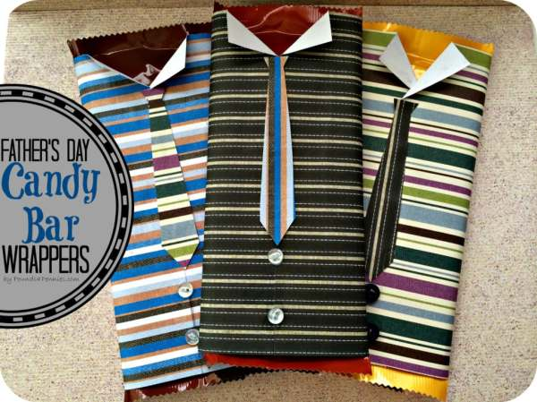 Regular candy bars wrapped with scrapbook paper made into a dress shirt and tie