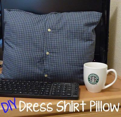 Button up dress shirt formed into a keepsake pillow