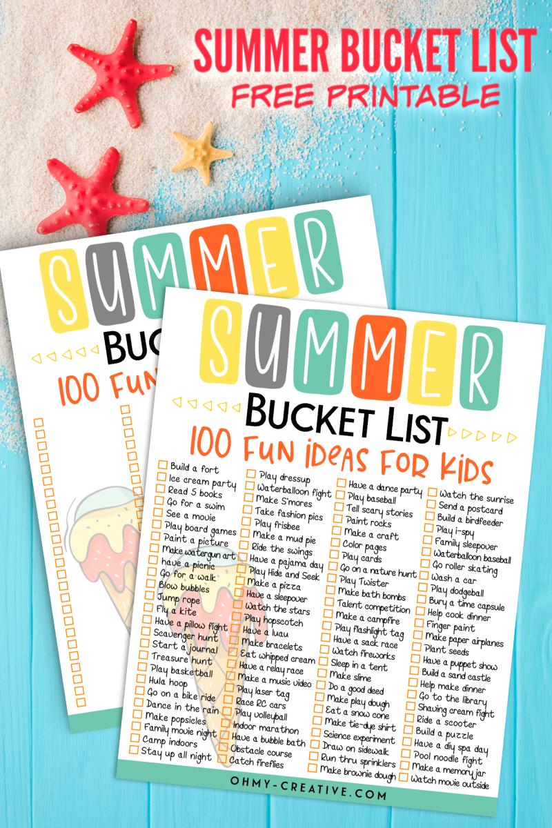 100 Summer Bucket List Ideas And Printable List