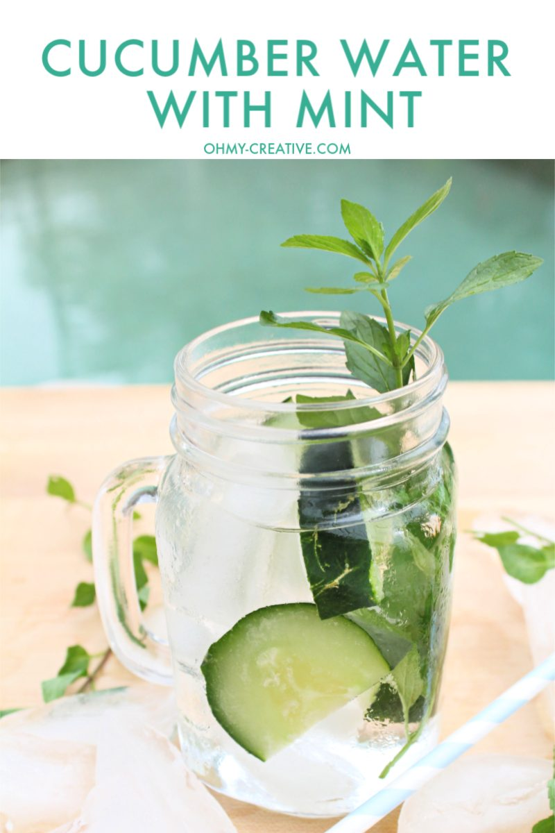 Cucumber Water With Mint sitting by the pool