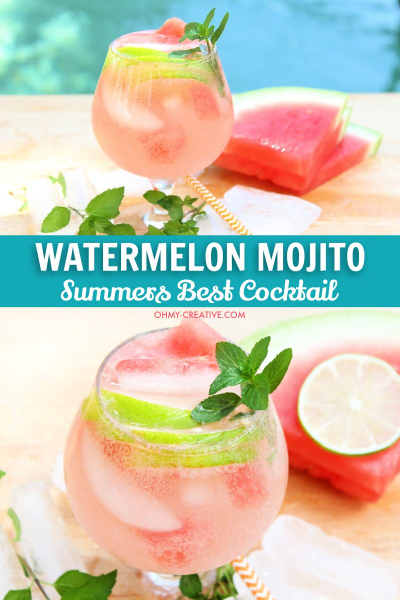Watermelon cocktail with slice of lime garnish and fresh mint.