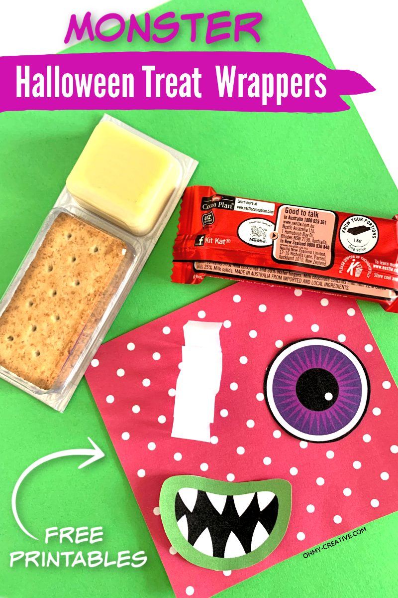 Snack cracker and supplies to assemble Halloween candy bar wrappers.
