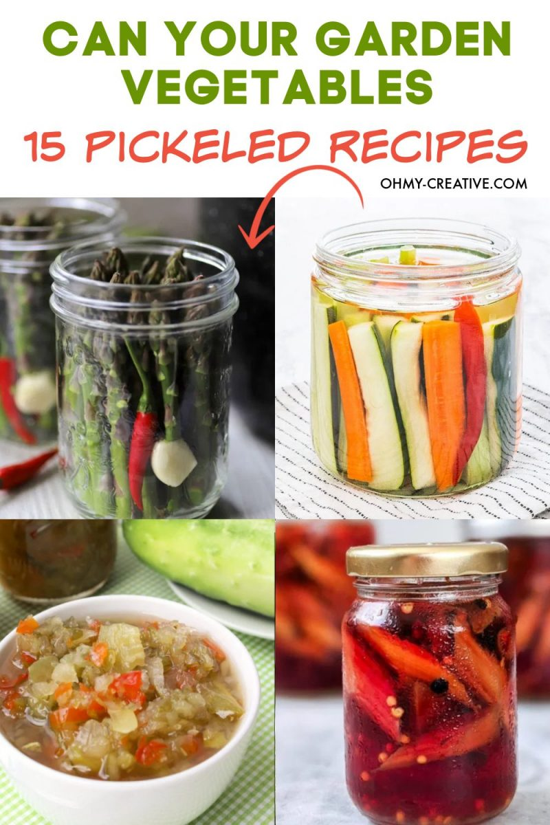A collection of pickled vegetable recipes for canning.