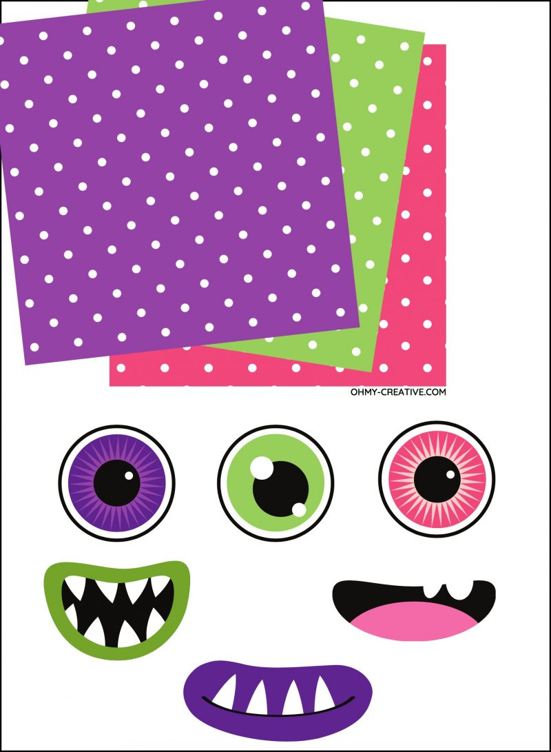 Image of free printable monster snack and candy bar wrappers.