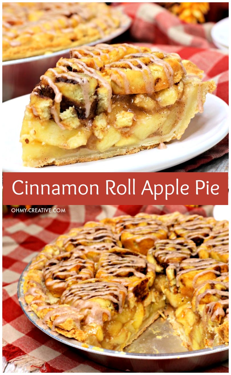 A slice of cinnamon roll apple pie sits on a plate with the full pie pictured in the background.